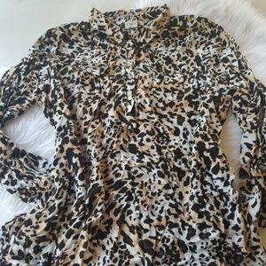 Womens 26 /28 animal print button down shirt